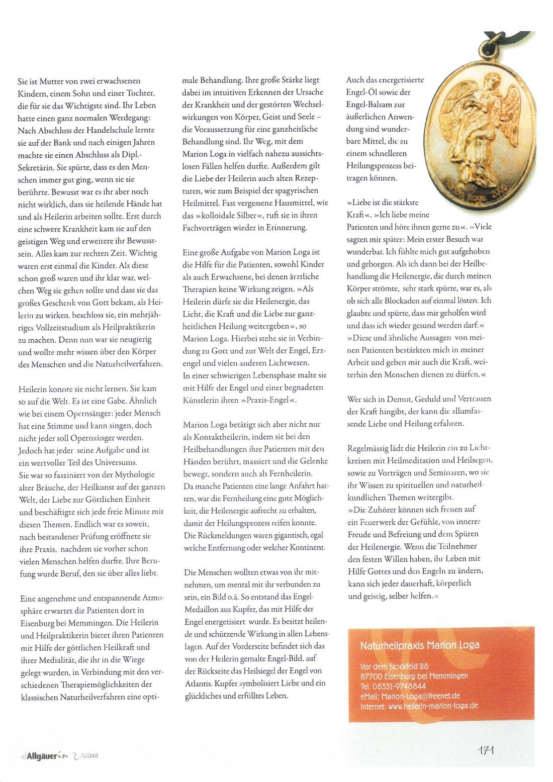 """Artikel in """"Die Allgäuerin"""" vom Herbst 2008 Seite 2"""