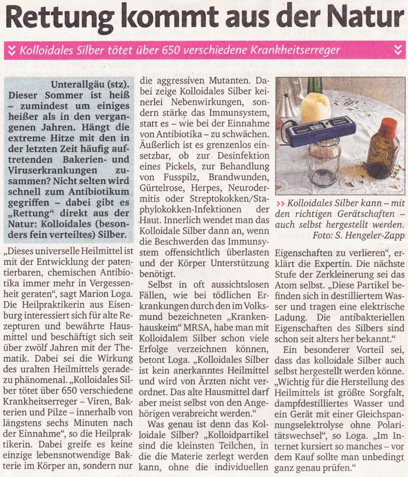 Artikel der Memminger Zeitung August 2015